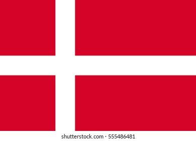 Flag of Danmark. Vector illustration of icon.