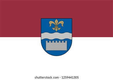 Flag of Daugavpils is a city in southeastern Latvia. Vector illustration
