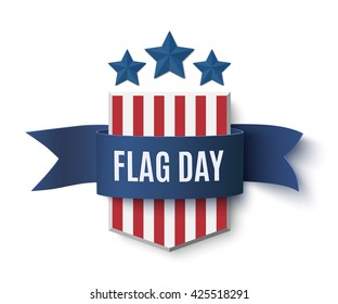 Flag Day background template. Badge with blue isolated on white. Vector illustration.