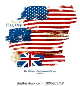 Flag Day card with american flags: 50-star, 13-star Betsy Ross, Grand Union flag
