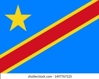 Flag of the Democratic Republic of the Congo -DRC, DROC - a vector illustration