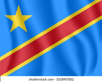 Flag of Democratic Republic of the Congo. Realistic waving flag of DR Congo. Fabric textured flowing flag of Zaire.