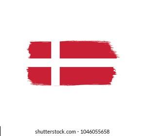 Flag of Denmark brush stroke. Vector Danish flag.