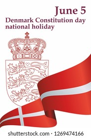 Flag of Denmark, Denmark Constitution day national holiday, June 5, Kingdom of Denmark. Template for award design, an official document with the flag of Denmark. Bright, colorful vector illustration.