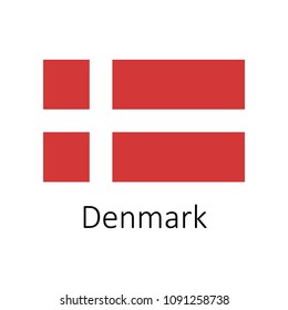 Flag of Denmark with name icon. Official colors and proportion correctly. National Denmark Flag vector. Denmark Flag vector illustration. National Denmark Flag vector on white background