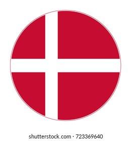 Flag of Denmark round icon, badge or button