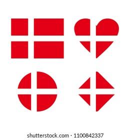 Flag of Denmark. Symbol of Denmark. Vector Danish flag. Kingdom of Denmark.