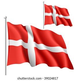 Flag of Denmark. Vector illustration.