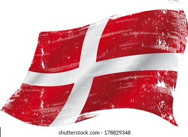 flag of  Denmark in the wind with a texture