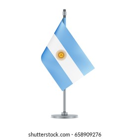 Flag design. Argentinian flag hanging on the metallic pole. Isolated template for your designs. Vector illustration.