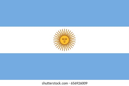 Flag design. Argentinian flag on the white background, isolated flat layout for your designs. Vector illustration.