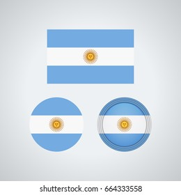 Flag design. Argentinian flag set. Isolated template for your designs. Vector illustration.