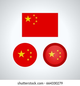 Flag design. Chinese flag set. Isolated template for your designs. Vector illustration.