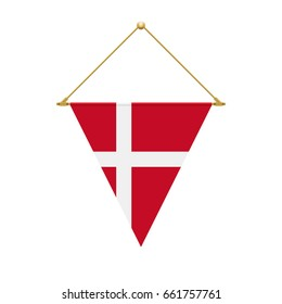 Flag design. Danish triangle flag hanging. Isolated template for your designs. Vector illustration.