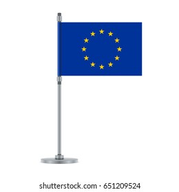 Flag design. European Union flag on the metallic pole. Isolated template for your designs. Vector illustration.