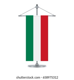 Flag design. Hungarian flag on the metallic cross pole. Isolated template for your designs. Vector illustration.