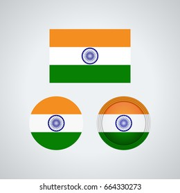 Flag design. Indian flag set. Isolated template for your designs. Vector illustration.