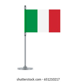 Flag design. Italian flag on the metallic pole. Isolated template for your designs. Vector illustration.