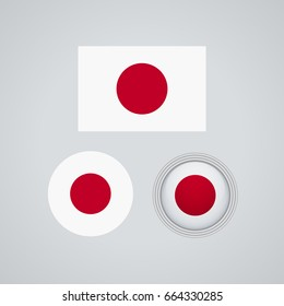 Flag design. Japanese flag set. Isolated template for your designs. Vector illustration.