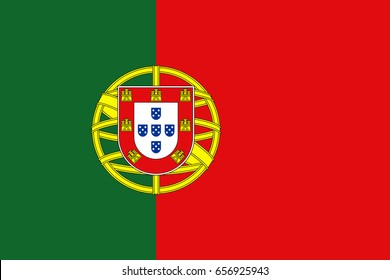 Flag design. Portuguese flag on the white background, isolated flat layout for your designs. Vector illustration.