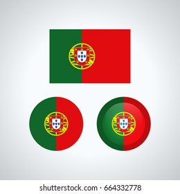 Flag design. Portuguese flag set. Isolated template for your designs. Vector illustration.