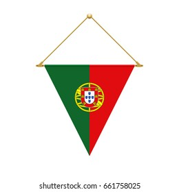 Flag design. Portuguese triangle flag hanging. Isolated template for your designs. Vector illustration.