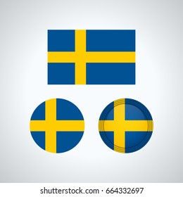 Flag design. Swedish flag set. Isolated template for your designs. Vector illustration.