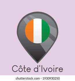 Flag of Côte d'Ivoire location pin icon design, Simple dark gradient vector illustration, eps 10