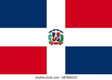 Flag Dominican flat icon. State insignia of the nation in flat style on the entire page. National symbol in the form of a vector illustration