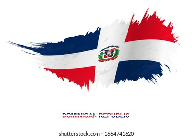 Flag of Dominican Republic in grunge style with waving effect, vector grunge brush stroke flag.