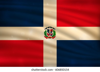 flag of Dominican Republic on wavy silk background with bokeh lights. Realistic vector illustration.