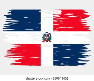 Flag of Dominican Republic. Painted brush colored inks. Symbol Independence Day National Patriotic Travel Country Background Grunge Paint Stock Vector Icon Logo Picture Image Illustration Political