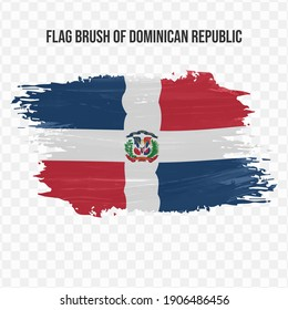Flag Of Dominican Republic in texture brush  with transparent background, vector illustration in eps file