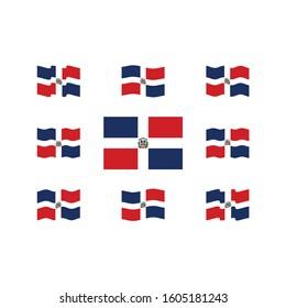 Flag of Dominican Republic Vector Set