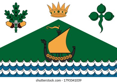 Flag of Dun Laoghaire–Rathdown is a county in Ireland. It is part of the Dublin Region in the province of Leinster. Vector illustration