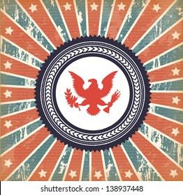 flag and eagle over vintage background vector illustration