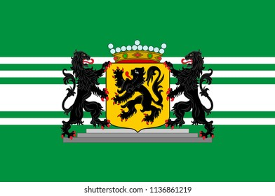Flag of East Flanders is a province of Flanders, one of the three regions of Belgium. Vector illustration