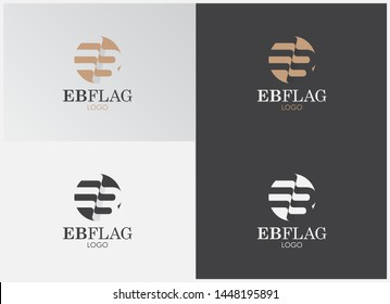 Flag EB Letters Typography Logo