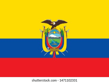 Flag of Ecuador with coat of arms. Vector.