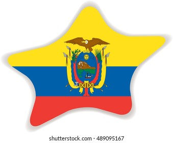 Flag of Ecuador, officially the Republic of Ecuador. Vector illustration of a stylized flag. Star with shadow. Element for infographics.