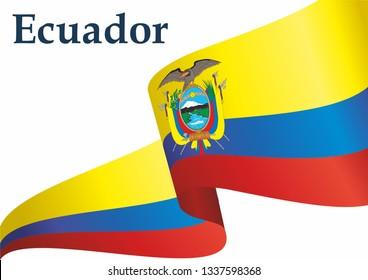 Flag of Ecuador, Republic of Ecuador. Template for award design, an official document with the flag of Ecuador. Bright, colorful vector illustration.