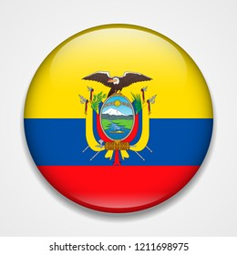 Flag of Ecuador. Round glossy badge