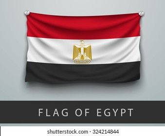 FLAG OF EGYPT battered, hung on the wall, screwed screws