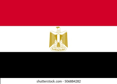 Flag of Egypt in correct size, proportions and colors. Accurate official standard dimensions. Egyptian national flag. Arab Republic of Egypt patriotic symbol, banner, background. Vector illustration