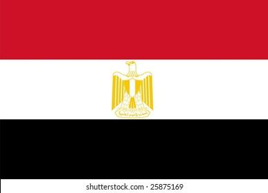 Flag of Egypt. Illustration over white background