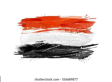 Flag of Egypt made with colorful splashes. Vector illustration.