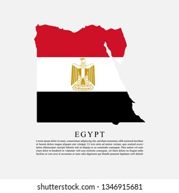 Flag of Egypt maps territory and information text poster, Egypt flag template design. Vector Eps 10