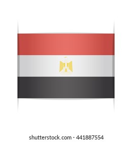 Flag of Egypt, officially the Arab Republic of Egypt. Vector illustration of a stylized flag. The slit in the paper with shadows. Element for infographics.