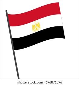 Flag of Egypt , Egypt flag waving isolated vector illustration