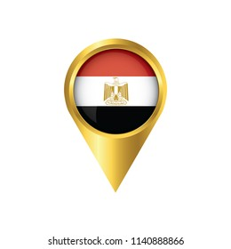 Flag of Egypt.symbol check in Egypt, golden map pointer with the national flag of Egypt in the button. vector illustration.